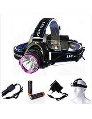 2200 Lm CREE XM-L T6 focus LED Phare / Headlamp Headlight Head Torch Lamp + 2 X 18650 Batterie + Chargeur de voiture + Chargeur UE LD361
