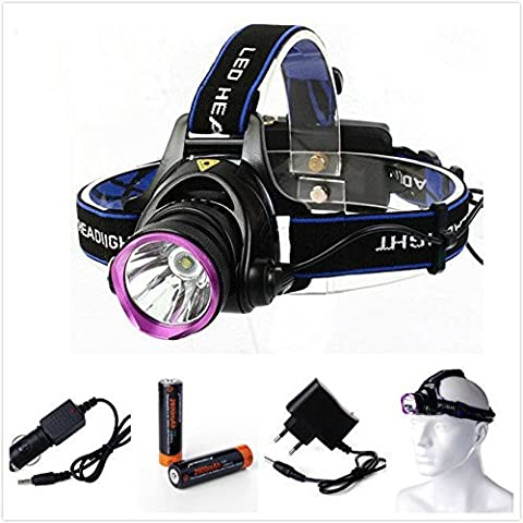 2000LM CREE XML-T6 Focus Frontale LED Luce faro lampada Testa Headlight Headlamp + 2pz ricaricabile Batteria 18650 + 4.2V Power charger + Auto Caricabatterie Per Outdoor Sport Ciclismo, Cycling, Hiking, Camping, Night rides, Caving expedition LD361