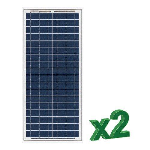 Conjunto de 2 Placa Solar Fotovoltaico 30W Total 60W Policristalino Placa Solar Fotovoltaico 30W en silicio policristalino, ideal para abastecer a campistas, barcos, cabañas, casas de campo, sistemas de videovigilancia, puentes de radio, etc.  Carac...