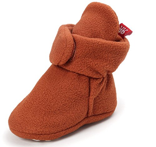 Unisex Baby Fleece Lined Booties Snow Boots Soft Warm Crib Slipper First Pram Shoes (Halloween-fleece-stoff)