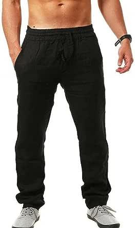 VANVENE Men Linen Trousers Lightweight Loose Casual Drawstring Elastic Waist Simple Yoga Pants