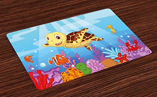 Esszimmer Sammlung Sammlung (ABAKUHAUS Schildkröte Platzmatten, Lustige entzückende Cartoon-Art-Unterwassermeerestier-Baby-Schildkröte und Fisch-Sammlung, Tiscjdeco aus Farbfesten Stoff für das Esszimmer und Küch, Mehrfarbig)