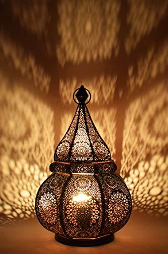 Orientalische kleine Tischlampe Lampe Malhan 38cm Schwarz E27 | Marokkanische Tischlampen klein aus Metall, Lampenschirm Schwarz | Nachttischlampe modern, für Vintage, Retro & Landhaus Stil Design