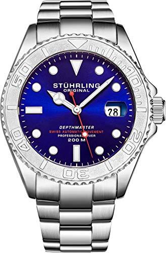 Stuhrling Original - Montre de plongée Professionnelle DEPTHMASTER en Acier Inoxydable, Automatique, étanche à 200 mètres, avec Fermoir de sécurité Divers et Couronne vissée (Blue)