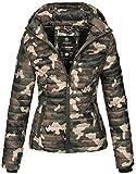 Marikoo Damen Jacke Steppjacke Übergangsjacke mit Kapuze gesteppt B600 [B600-Samt-Camo-Gr.M]