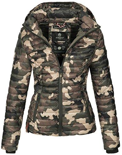 Marikoo Damen Jacke Steppjacke Übergangsjacke mit Kapuze gesteppt B600 [B600-Samt-Camo-Gr.M] (Camo Regen-jacke Für Frauen)
