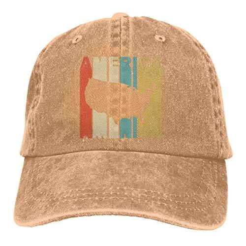 Unisex Adjustable Yarn-Dyed Denim Baseball Caps Retro Style America Silhouette Plain Cap