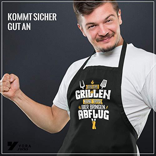 51zYSuhgYOL - YORA Grillschürze für Männer lustig - Bin am Grillen - Schürze als ideales Grillzubehör Geschenk für Männer - Z Gelb