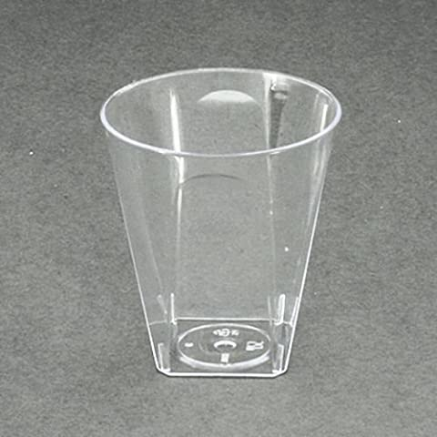 Clear Square Shot Glasses Disposable Plastic 56ml/2oz - Party and Wedding 100 Pack