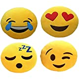 Frantic Premium Quality Cool Dude, Laughing Tears, Flying Kiss And Sleeping Soft Smiley Cushion - 35 Cm Set Of 4