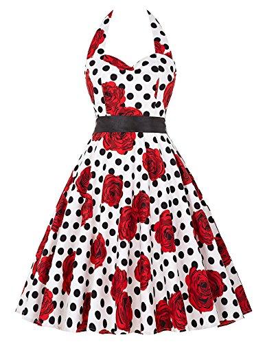 damenkleider festlich 50s vintage retro petticoat kleid swing kleid a linie kleid L CL6075-22 (Nylon Rock A-linie)