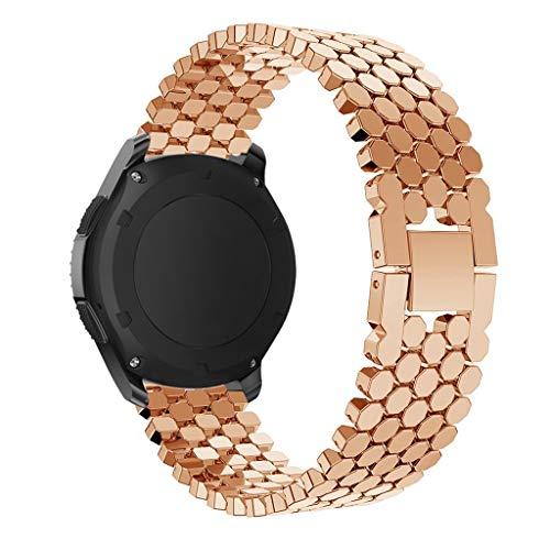 Happy Event Strap Kompatible für Samsung Galaxy Uhr 46mm, Edelstahl Einstellbare Ersatzgurte Fitness Armband