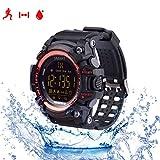 Herzfrequenz Fitness Tracker Smarts Armband Sportuhren Outdoor Wasserdichte IP67 Multifunktions Bluetooth Mode EX16 Uhr mit Android und IOS Smartphones,Rot