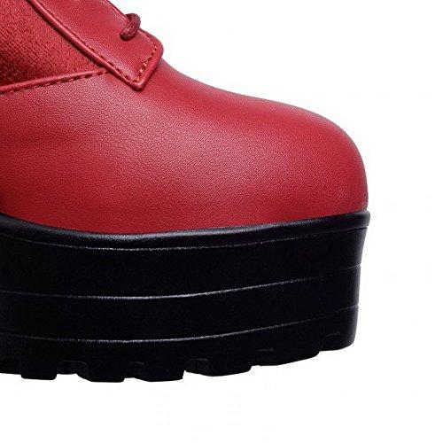 VogueZone009 Donna Tacco Alto Alta Altezza Puro Tirare Stivali con Nodo Rosso