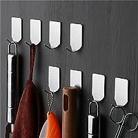 Lembeauty 8pcs 304 Stainless Steel Hooks, Self Adhesive 3M Wall Hooks for Keys Towel Hats Organizing