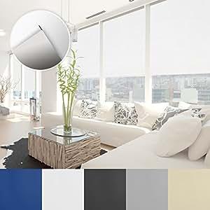 Verdunkelungsrollo - lichtundurchlässig, thermobeschichtet - Klemmfix, auch ohne Bohren anbringbar - Rollo zur Verdunkelung in vielen Größen und Farben   Weiß   80x150cm