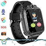 Kinder Intelligente Uhr Wasserdicht, Smartwatch LBS Tracker mit Kinder SOS Handy Touchscreen Spiel Kamera Voice Chat Wecker für Jungen Mädchen Student Geschenk (S102 Schwarz)