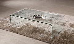Idea Regalo - Tavolino da salotto cristallo curvato Coffee Cube spessore 12mm. Design e stile unici, Prezzo Outlet