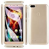 Jiayuane Smartphone 3G Desbloqueado, Pantalla Completa de 5.5', Android 4.4, 512M + 4GB, Doble Ranura SIM, Doble cámara, ID de Rostro, WiFi GPS 2200mAh Batería Dorado