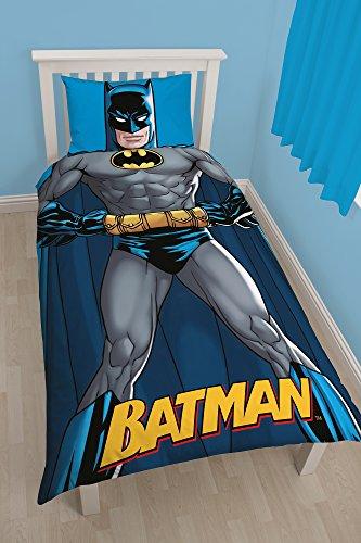 Dc Comics BATMAN Set LETTO SINGOLO Copripiumino 135x200cm + FEDERA 48x74cm
