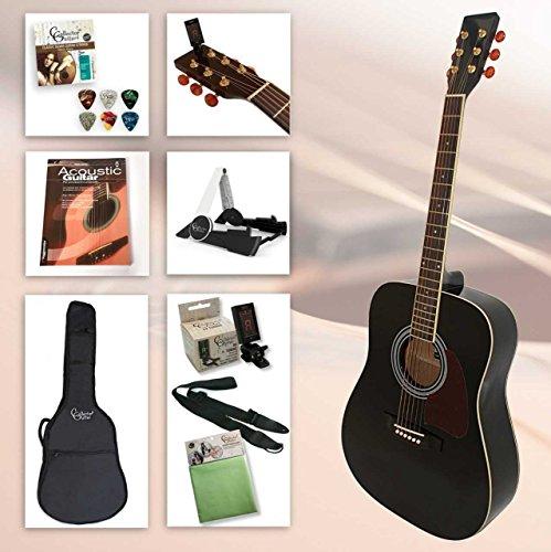 Einsteiger Westerngitarre Set School XXL mit viel Zubehör, Gitarrenständer, gefütterter Gitarrentasche, Clip-Stimmgerät, Gitarrengurt, Saiten, 6 Plektren, Poliertuch und hervorragendes Gitarrenbuch incl. CD (Dreadnought Acoustic Gitarre Pack)