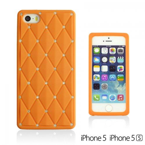 OBiDi - Checker Pattern Soft Silicone Case / Housse pour Apple iPhone SE / Apple iPhone 5S / 5 - Orange Orange