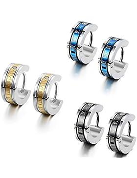 Flongo 3 Paar Edelstahl Ohrstecker Reifen Huggie Ohrringe Silber Blau Schwarz Gold Römischen Ziffern Einzigartig...