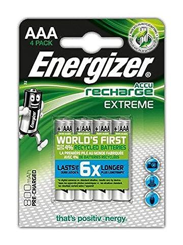 Energizer Extreme Blister de 4 Piles Rechargeables AAA 800 BP4 Pré-Chargé