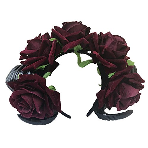 af Horn Rose Blume Stirnband Gothic Kawaii Schönheit Horror Halloween Party Cosplay Retro Haarschmuck Vintage Haarnadel (Haarband) ()