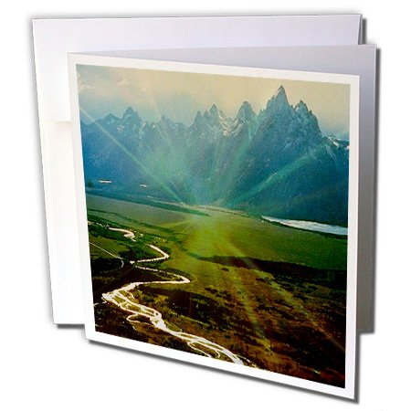 3dRose Snake River and Teton Range with Sunlight Reflection - Greeting Cards, 6 x 6 inches, set of 6 (gc_26356_1) -