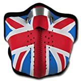 WINDMASK Neopren Biker Motorrad Maske Sturmmaske Skimaske - Union Jack UK England, Größe:M - Medium