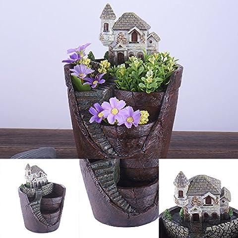 LianLe Mikro Landschaft Deko Kleine Kreative Blumen Topf Hängender Garten Handwerk mit süßem Haus