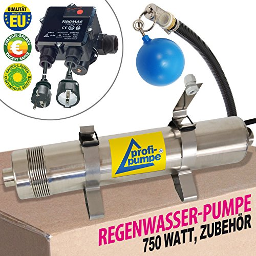 Tauchpumpe REGEN-STAR-SUPER 750 mit Durchflusswächter FLUOMAC Ansaug-Set, Füßen und 25 m Kabel, ZISTERNENPUMPE für REGENWASSERNUTZUNG, REGENTANK, ERDTANK, ZISTERNE, REGENWASSERTANK, WASSERSPEICHER.