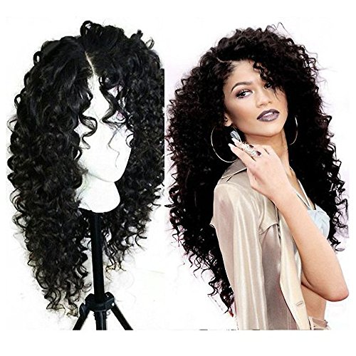Mufly Natur schwarz Afro Perücke krauselocken Langes Haar Synthetische Remy Curly Lace Front Perücken für Damen Lace Front Wigs (Schwarz Haare Afro)