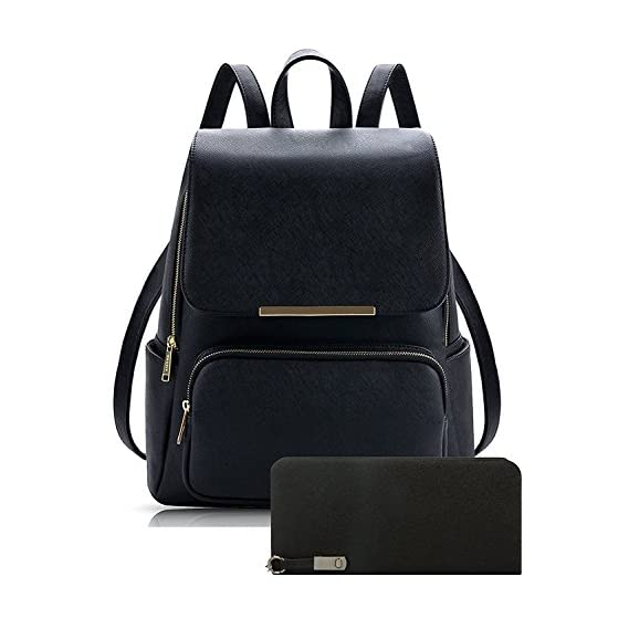 Alice Pu Material Girls Cadence Casual Backpack School / College Bag And Clutc Combo(Prebkp9) (Black With Clutch)