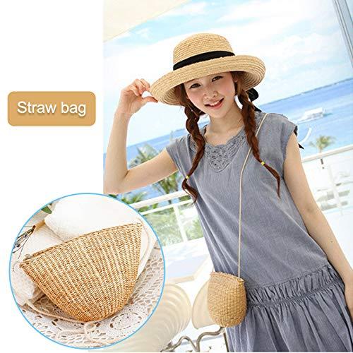 Frauen-Dame Girl Straw Shoulder Crossbody Bag Zipper Weinlese Woven for Travel Beach as Show