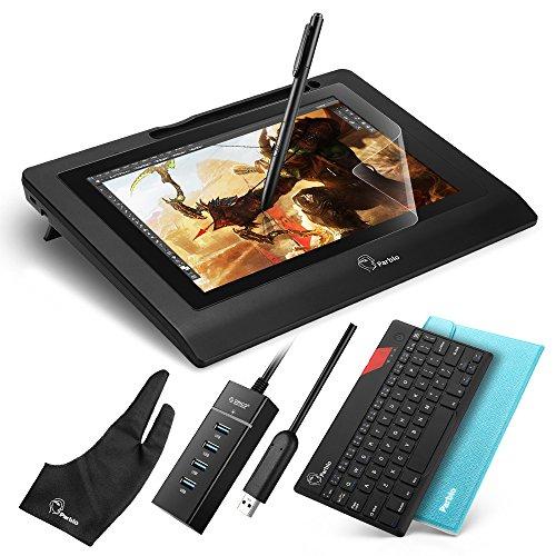 """Parblo Coast10 10.1"""" Zeichnung Grafik Monitor Grafiktabletts Anzeige Graphic Drawing Display mit Batterie frei Stift Pen und 9"""" Bluetooth Tastatur /PU-Leder Etui"""