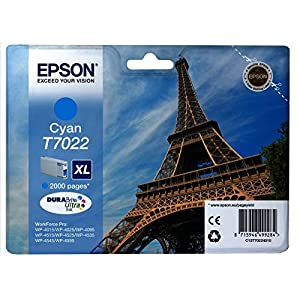 Epson C13T70224010 WP4000/WP5000 Series X-Large Ink Cartridge, Cyan, Genuine, Amazon Dash Replenishment Ready