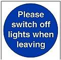 vsafety Gebotszeichen, Bitte Licht beim Verlassen, selbstklebend, quadratisch