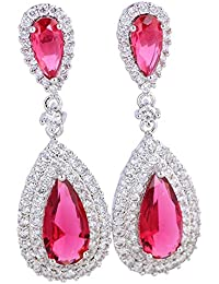 Pendientes largos plata y rojo topacio Rubí Pendientes para mujer Fashion Jewelry e393