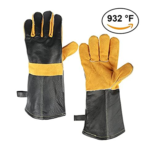 OZERO Barbecue Leather Gloves, 932°F Extreme Heat Resistant Gloves with 14.5 inches Extra Long Sleeve- Oven Gloves, Grilling Gloves, Kitchen Gloves, Oven Mitts, Cooking Gloves Baking Gloves,