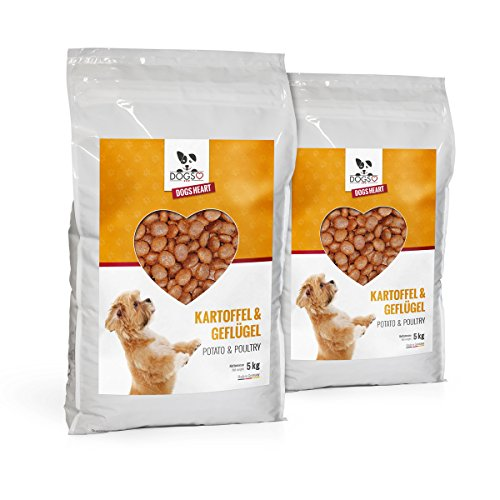 Dogs-Heart Geflügel&Kartoffel 2x5kg, Getreidefreies Hundefutter mit viel Fleisch