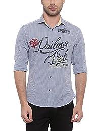SHOWOFF Mens Blue Checkered Casual Shirt