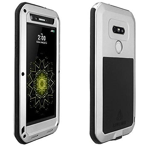 Alienwork Case for LG G5 suitable for fingerprint Bumper Cover Shock Proof Dust Proof Snow Proof Metal silver