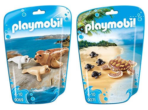 PLAYMOBIL® Family Fun 2er Set 9069 9071 Robbe + Wasserschildkröte