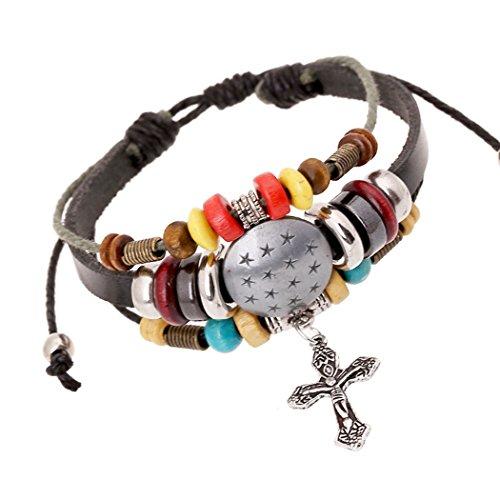 time-pawnshop-handmade-cross-star-shield-multilayer-charm-adjustable-all-match-bracelet
