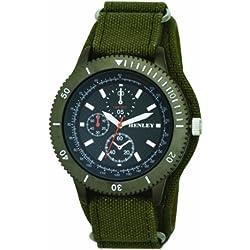 Henley Herren Armbanduhr mit schwarzem Zifferblatt Analog-Anzeige und grünes Stoffarmband, H02079.11