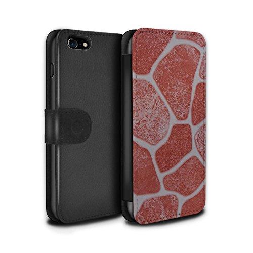 Stuff4 Coque/Etui/Housse Cuir PU Case/Cover pour Apple iPhone 7 / Cailloux Lisse Design / Pierre/Rock Collection Sol en Pierre/Red