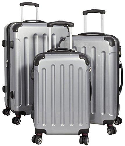 3tlg. Polycarbonat Hartschalen Koffer Trolley Reisekoffer Reisetrolley Handgepäck Boardcase Mauritius (Silber)
