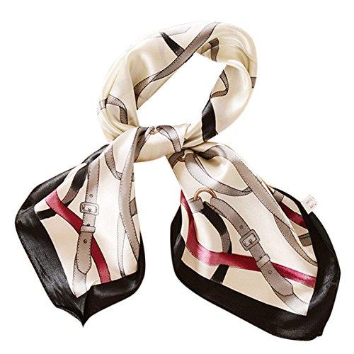 Feoya - Pañuelo de Seda Cuadrado Vintage Elegante con Estampado Floral Para Mujer Verano 60*60cm